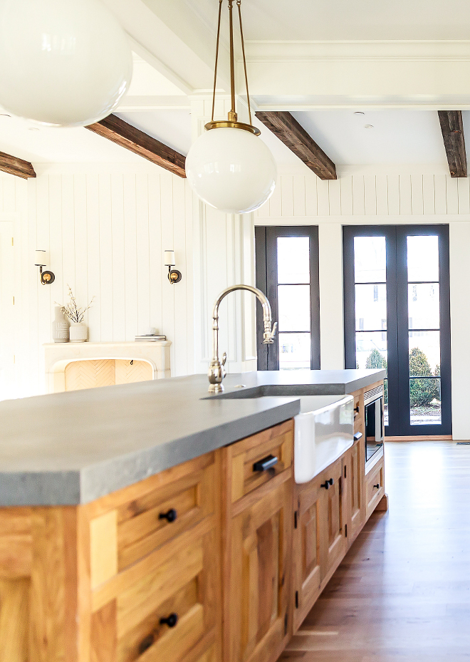 Natural wood kitchen island The kitchen island countertop is Caesarstone Rugged Concrete, mitered Natural wood kitchen island with grey quartz countertop Natural wood kitchen island #Naturalwoodkitchenisland Naturalwoodkitchencabinet #Naturalwoodkitchen