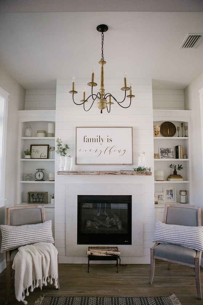 Sherwin Williams Pure White Trim, built-ins and fireplace are painted in Sherwin Williams Pure White Sherwin Williams Pure White Sherwin Williams Pure White #SherwinWilliamsPureWhite