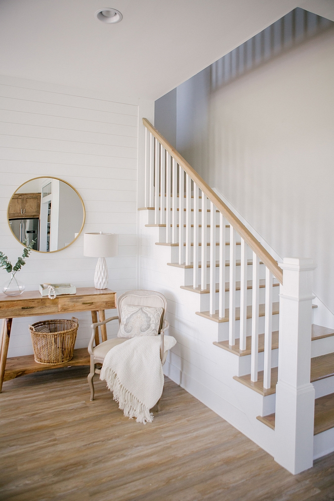 Staircase with shiplap, white spindles, white newel post and White Oak treads Staircase with shiplap, white spindles, white newel post and White Oak treads Staircase with shiplap, white spindles, white newel post and White Oak treads #Staircase #shiplap #shiplapstaircase #whitespindles #whitenewelpost #newelpost #WhiteOaktreads