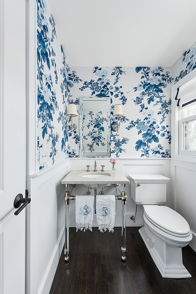 Benjamin Moore Super White Bathroom wainscotting with Blue and white floral wallpaper above wainscotting Benjamin Moore Super White Benjamin Moore Super White #BenjaminMooreSuperWhite #BenjaminMoore #wainscotting #Blueandwhite #floralwallpaper