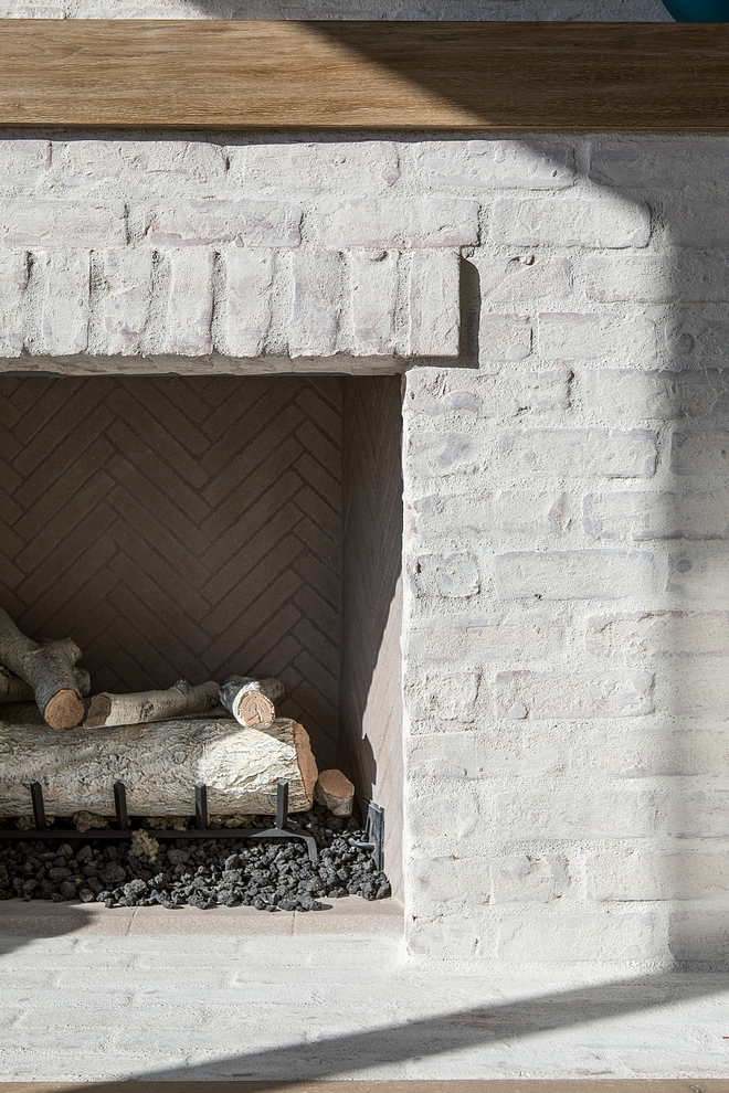 Fireplace The interior of the fireplace is finished with 1x9 firebrick hand-laid in a herringbone pattern #fireplace #herrinbone #fireplaceinteiror #herringbonebrick