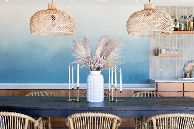 Boho Dining Room with Natural pendant lights basket pendant lights #pendantlight