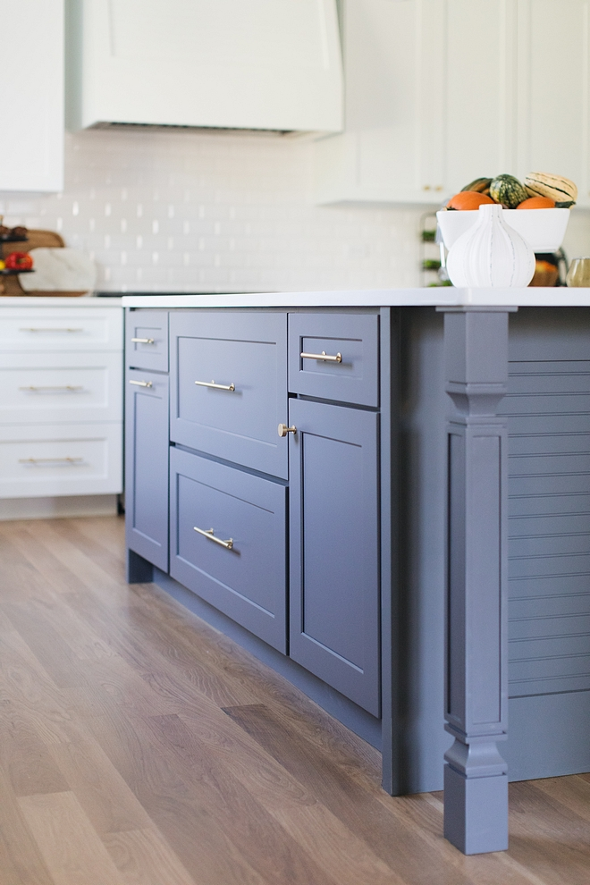 Benjamin Moore Normandy In person, the island is actually a gray color If you like the color you see above you can give Benjamin Moore Normandy a try That's similar color to what we see in this picture #BenjaminMooreNormandy