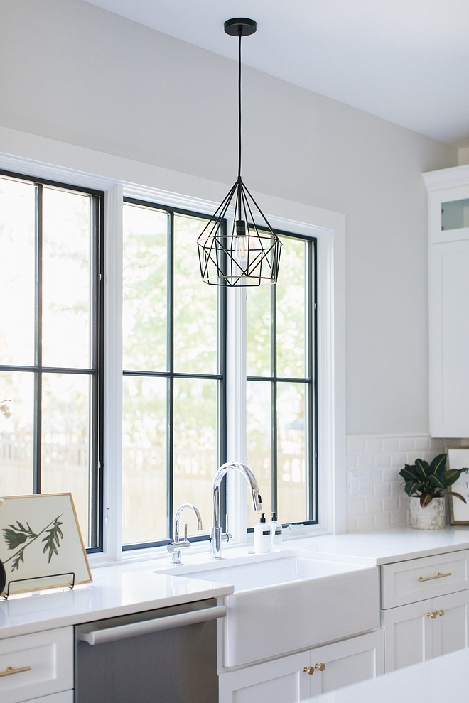 Black windows above kitchen sink painted in Sherwin Williams Tricorn Black Black windows are Pella Black windows above kitchen sink Black windows above kitchen sink #Blackwindows #kitchensinkwindows #kitchenblackwindows