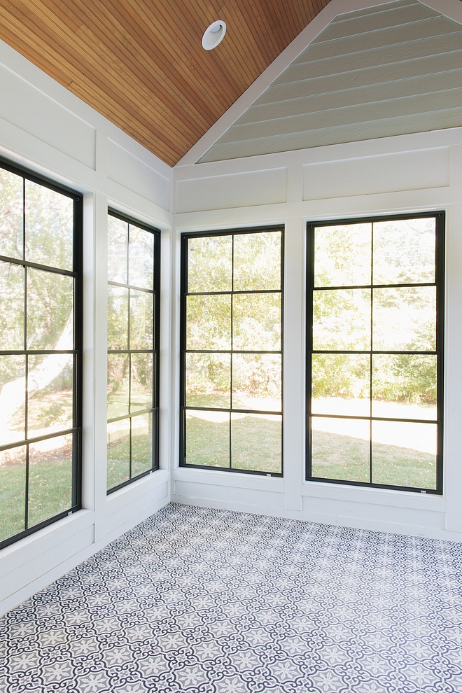 Sunroom with cement tile and black windows Sunroom with cement tile and black window ideas Sunroom with cement tile and black windows #Sunroom #cementtile #blackwindows