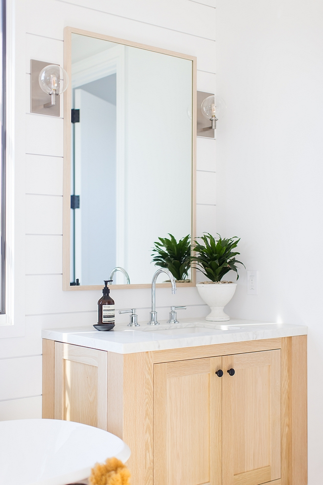 Bathroom paint color White by Benjamin Moore shiplap walls with Bleached White Oak Cabinetry Bathroom paint color White by Benjamin Moore shiplap #Bathroompaintcolor #WhitebyBenjaminMoore #shiplap