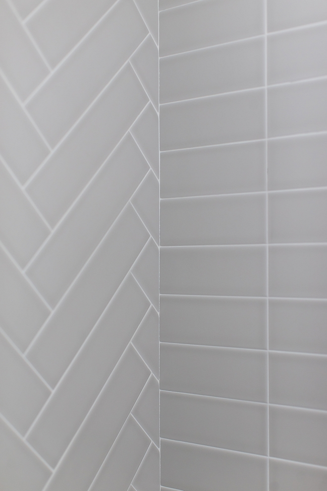 Matte Light Gray 4x16 tile in shower set straight and in herrinbone pattern Matte Light Gray 4x16 tile #Mattetile #LightGraytile