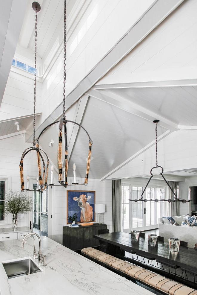 Shiplap ceiling and painted wrapped Beams with skylight in kitchen Kitchen ceiling Kitchen skylight ceiling Adding a skylight to kitchen ceiling #kitchenceiling #kitchen #Shiplapceiling #paintedbeams #wrappedBeams #skylight
