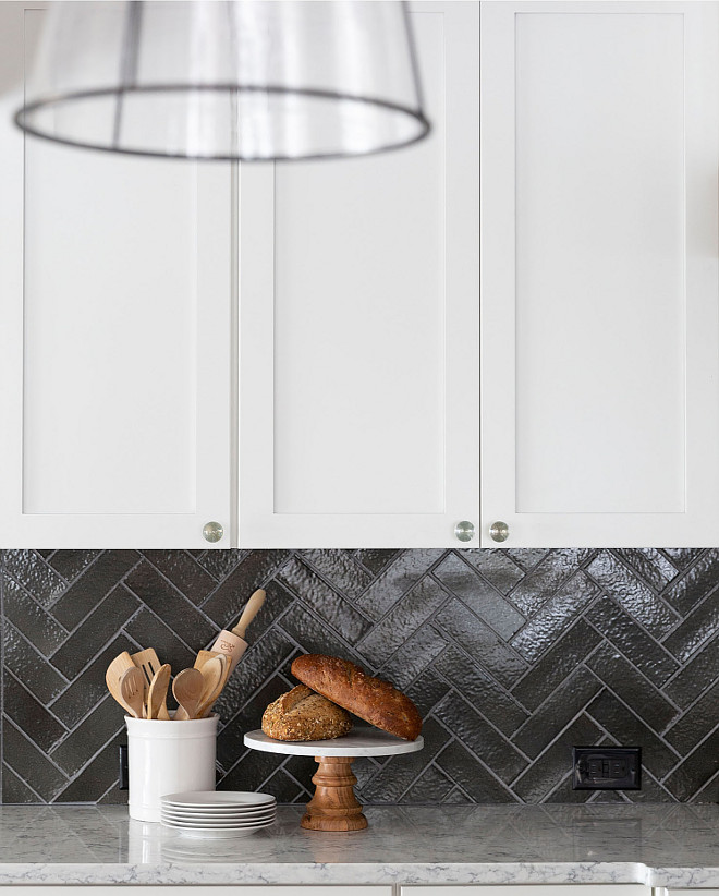 Herringbone terracotta backsplash tile White kitchen witth Charcoal Gray Herringbone terracotta backsplash tile Herringbone terracotta backsplash tile #Herringboneterracottatile #backsplash #tile