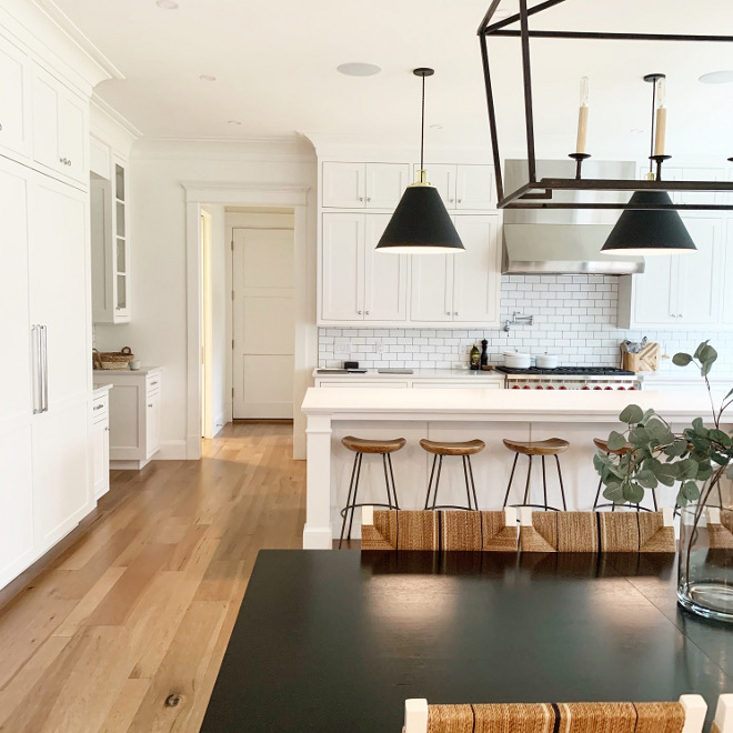 Modern Farmhouse with white interiors Wall color, trim, cabinets paint color Benjamin Moore Chantilly Lace Modern Farmhouse with white interiors Wall color, trim, cabinets paint color Benjamin Moore Chantilly Lace #Modern Farmhouse with white interiors #Wallcolor #trim #cabinets #paintcolor #BenjaminMooreChantillyLace