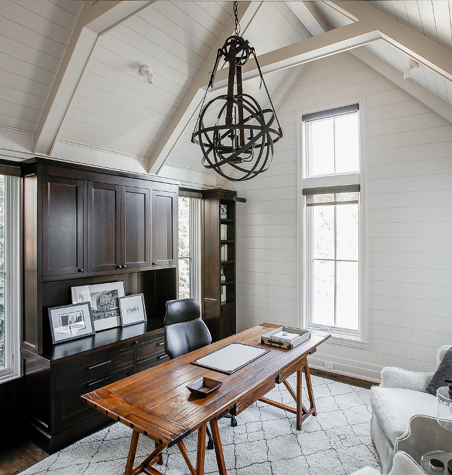 Shiplap Study White study with shiplap walls and shiplap ceiling with dark stained wood cabinets #ShiplapStudy #Whitestudy #shiplap #shiplapceiling #darkstainedcabinet