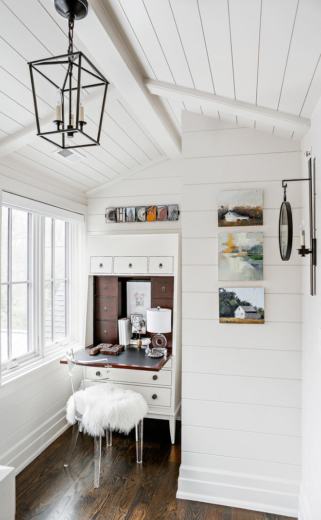 Small landing area with shiplap walls, shiplap ceiling and a small secretary desk #Smalllandingarea #shiplap #shiplapceiling #secretarydesk