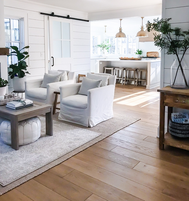 Benjamin Moore Super White coastal farmhouse beach house interiors painted in Benjamin Moore Super White Benjamin Moore Super White Benjamin Moore Super White #BenjaminMooreSuperWhite