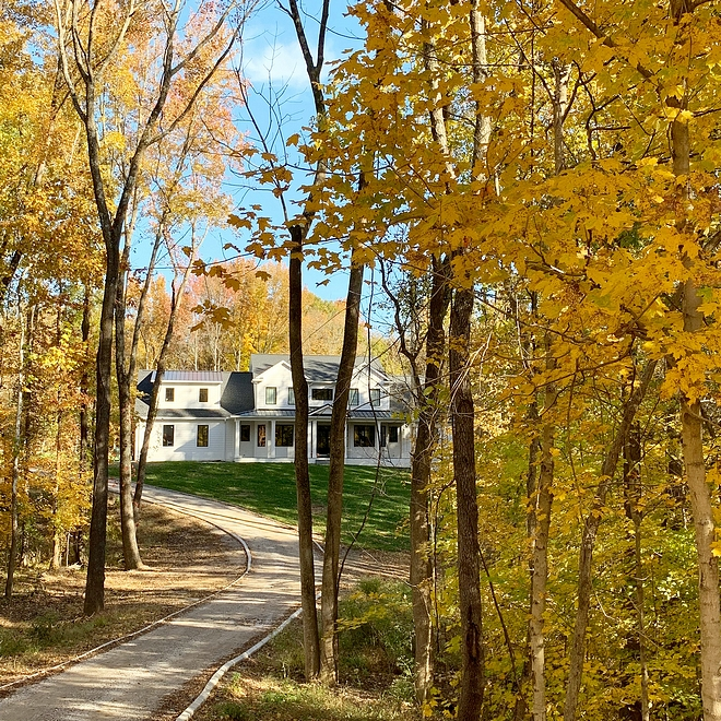 Treed Lot home with winding driveway Our house is situated on four wooded acres We love being tucked away here where it is quiet and peaceful, and honestly we don't have shades on most of our windows because it is so private Treed Lot home with winding driveway #TreedLot #treelothome #windingdriveway