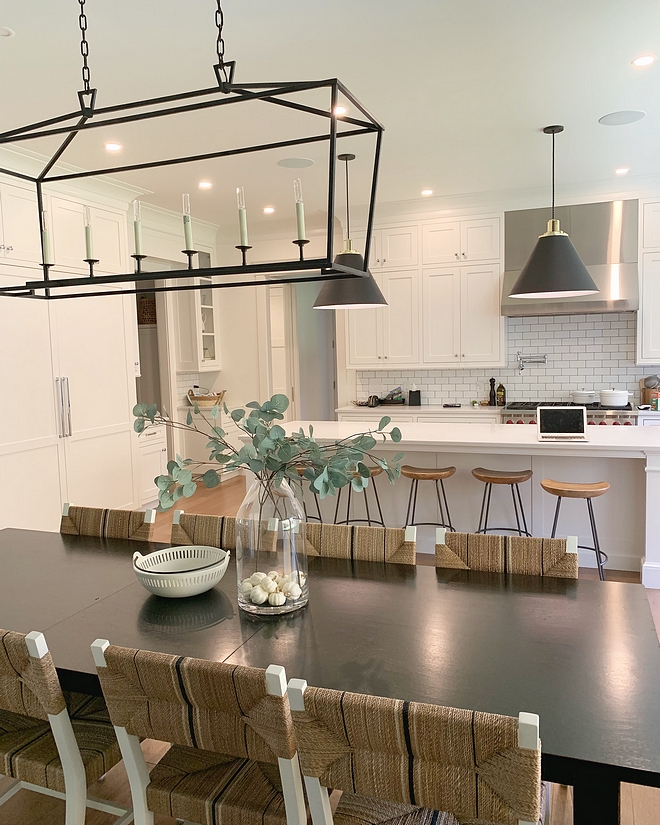 Open concept dining room I knew I definitely wanted open concept with our home and I love that the dining table is in the middle of the kitchen and living room Each space feels defined yet open #Openconceptdiningroom #Openconcept #diningroom