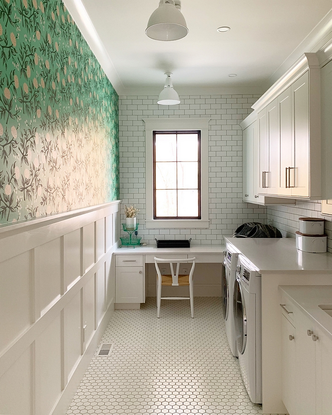 Laundry room White laundry room with grid board and batten wainscoting, subway tile backsplash and matte white hex floor tile grid board and batten wainscoting #laundryroom #gridboardandbattenwainscoting #gridwainscoting #boardandbatten #wainscoting #Laundryroom