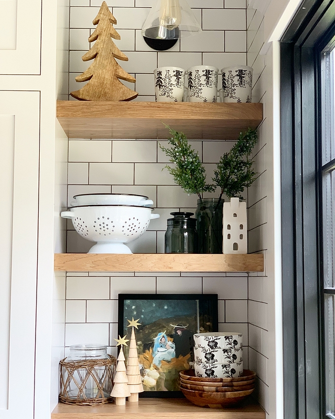 Kitchen Floating shelves Hickory custom stained/built to match floors Kitchen Floating shelves Kitchen Floating shelves #Kitchen #Floatingshelves