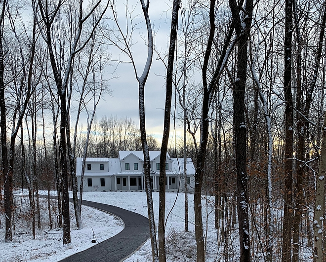 Farmhouse on a treed lot I love being surrounded by all of the trees, watching the trees bloom, watching the leaves change, and watching the snow fall #farmhouse #treedlot