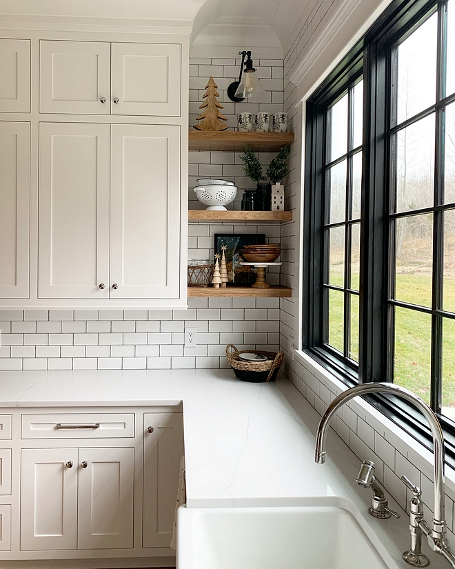 White kitchen with black windows subway tile backsplash with black grout to work with black windows I decided to tile the whole wall to create a focal point #kitchenblackwindow #kitchenwindow #kitchensinkwindow #kitchen #window #blackwindow