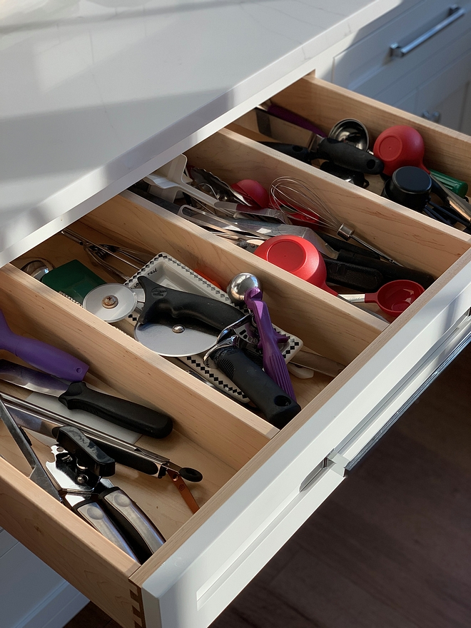 Utensil Drawers We added utensil dividers so all the utensils don't get tangled. It helps keep things more organized #kitchen #utensildrawer #utensilorganizer #kitchenorganization #organization
