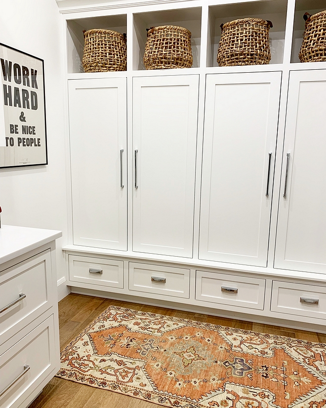 BM Chantilly Lace Mudroom Lockers Paint Color BM Chantilly Lace The lockers were a must have with kids, and especially adding doors to them BM Chantilly Lace Mudroom Lockers Paint Color BM Chantilly Lace #BMChantillyLace #Mudroom #MudroomLockers #MudroomPaintColor #BM #ChantillyLace