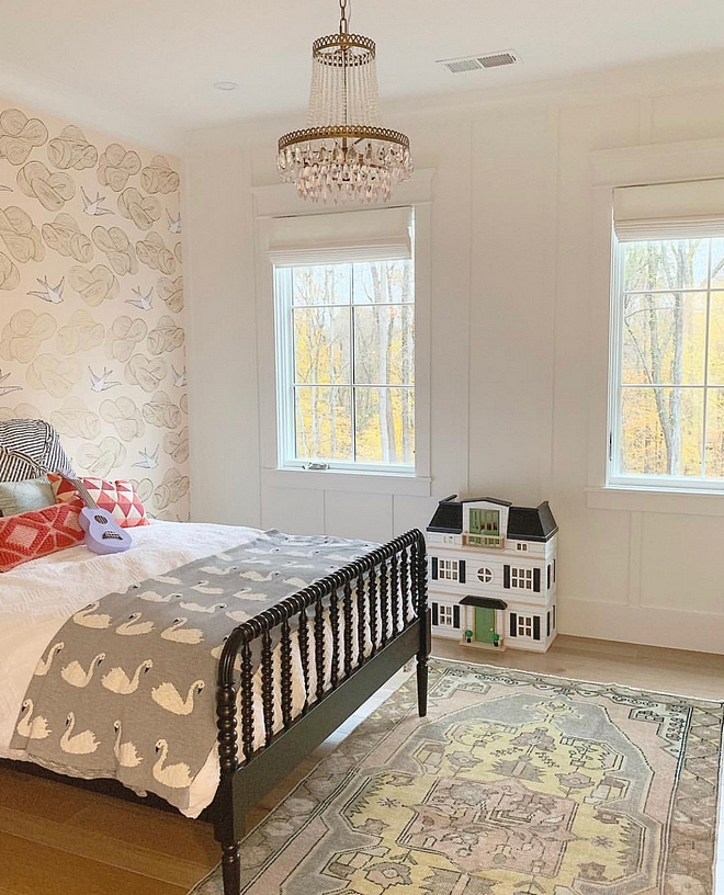 Girl Bedroom with wallpaper and board and batten Girl Bedroom with wallpaper and board and batten paneling Girl Bedroom with wallpaper and board and batten #GirlBedroom #wallpaper #boardandbatten