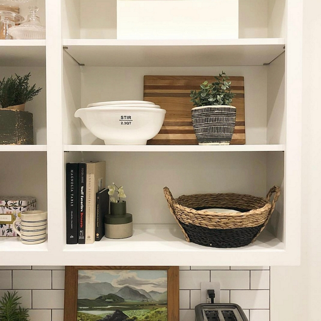 Pantry Shelves I wanted functional open shelving since you could see into the pantry from the kitchen. I wanted to be able to display pretty dishes and bowls, while still having easy access to them #pantry #pantryshelves #shelves