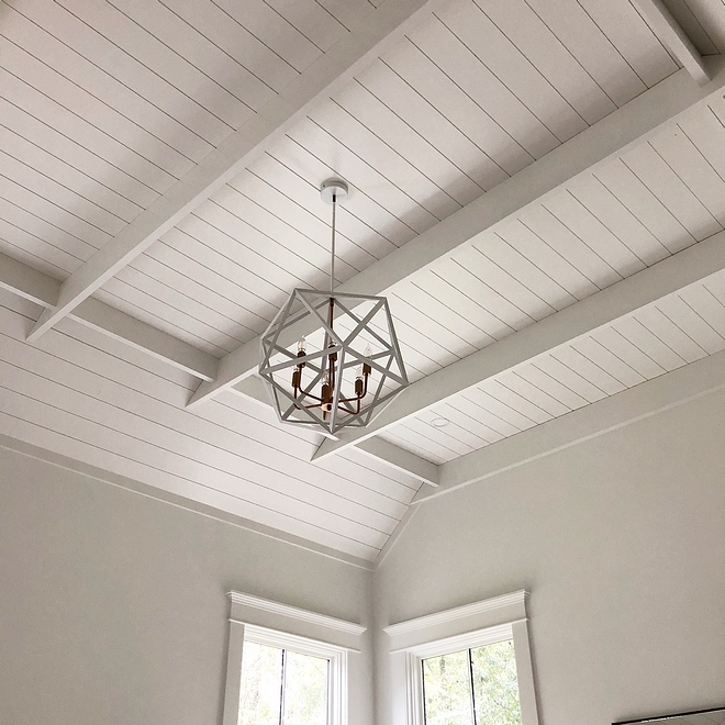 Barn Ceiling Farmhouse barn ceiling The ceiling was intended to mimic a barn ceiling to help bring in that farmhouse feel #farmhouse #farmhousestyle #barnceiling