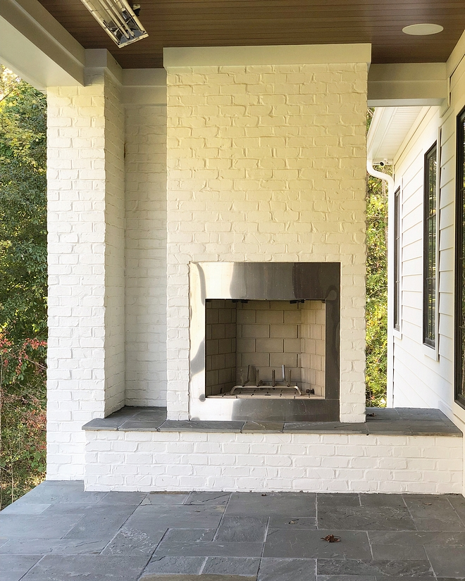 Painted brick fireplace Painted brick fireplace Painted brick fireplace with stainless steel and stone hearth Painted brick fireplace #Paintedbrickfireplace