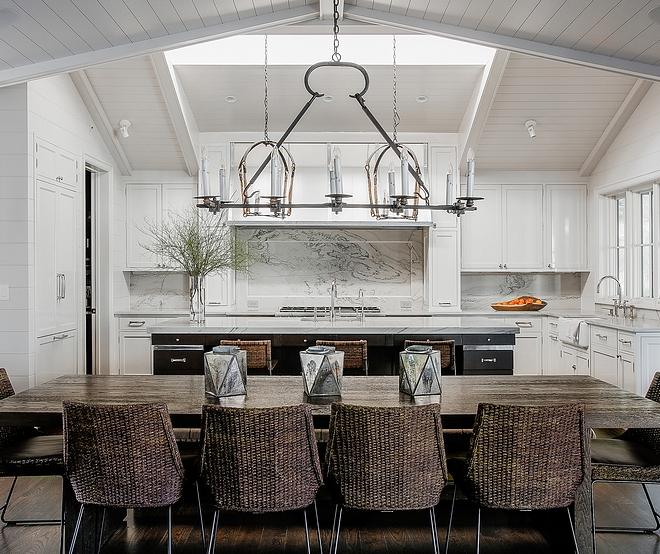 Kitchen Skylight Ideas A skylight brings lots of natural light into this kitchen Kitchen Skylight Shiplap ceiling with skylight #KitchenSkylight #Kitchen #Skylight #shiplap