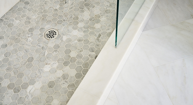 "Shower Pan is 3"" Marble Hexagon tile with Bright White Grout Lower Shower Pan Tile Shower Pan Ideas Shower Pan Tiling #ShowerPan #ShowerPantile #ShowerPantiling #ShowerPanideas"