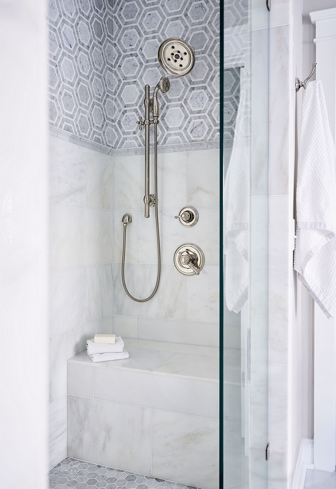 Shower Tiling Walls 12x24 Carrera (in a brick lay) with Bright White Grout Upper Wall Carrera Mosaic with Bright White Grout Upper and Lower Wall separated by a Carrera Chair Rail #shower #tile #showertile #showertiling #showertileideas #showerideas