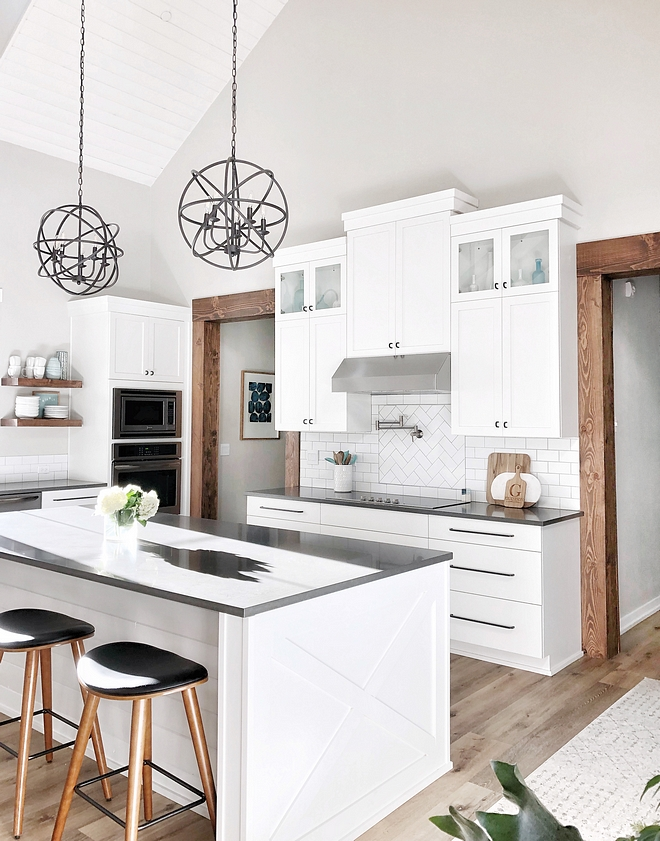 White kitchen with grey quartz countertop We went with a simple shaker style in white for the kitchen cabinets #whitekitchen #shakerstylekitchencabinet #whitecabinet #kitchencabinets