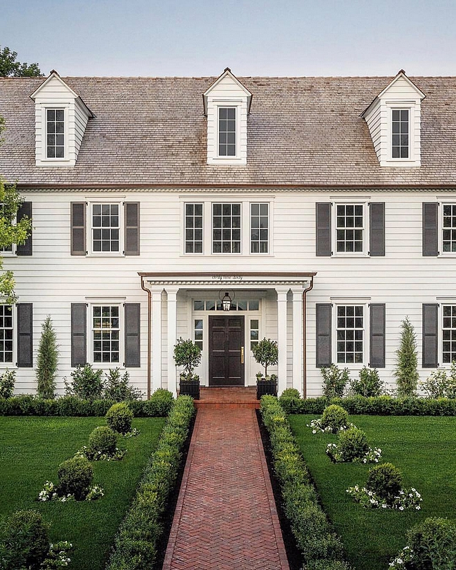 Benjamin Moore Classic White Home Exterior The exterior paint color was custom to match the white wood windows Front Door and Shutters Benjamin Moore Onyx Benjamin Moore Classic White Home Exterior Benjamin Moore Classic White Home Exterior #BenjaminMooreClassicWhite #HomeExterior #Whiteexterior #paintcolor