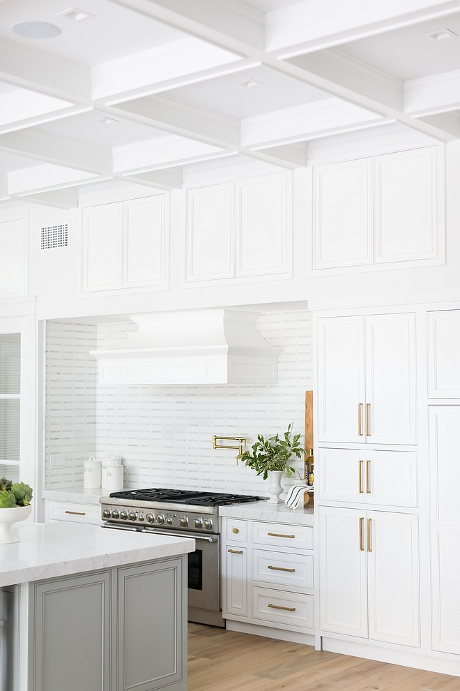 Kitchen Walls, Cabinet and Coffered Ceiling Paint Color Sherwin Williams SW 7005 Pure White If you read the blog you know this is my favorite crisp white paint color, along with Sherwin Williams Extra White #crispwhite #paintcolor #bestwhites #Kitchen #Walls #Cabinet #CofferedCeiling #whitePaintColor #SherwinWilliamsSW7005PureWhite