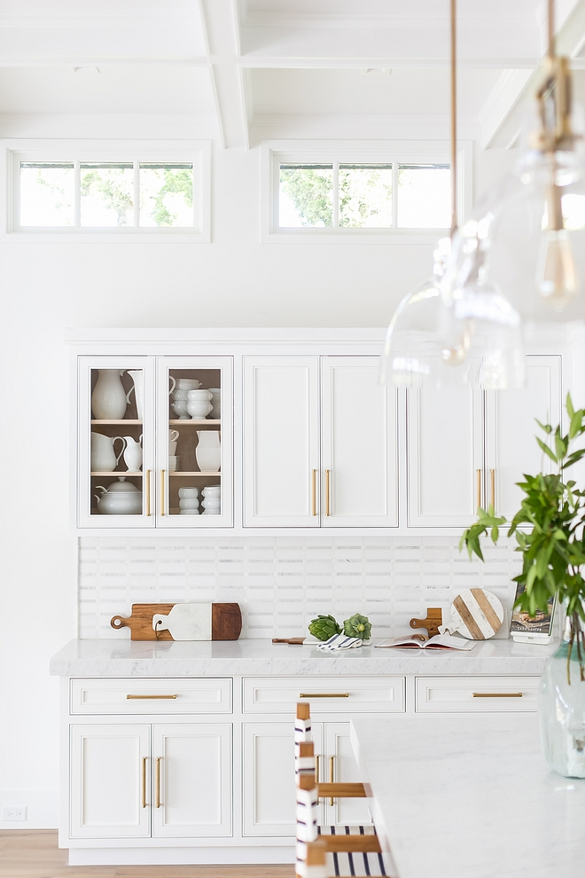 Kitchen Buffet Cabinet This custom buffet cabinet is set apart from the main cooking areas of the kitchen, but adjacent to the dining room and serves as a butler's pantry when entertaining Custom Kitchen Buffet Cabinet Kitchen Buffet Cabinet Ideas Kitchen Buffet Cabinet Design #Kitchen #KitchenBuffet #Cabinet