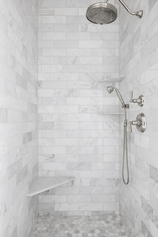 White marble shower tile Shower features 4x12 white marble subwaut tile on walls and white marble hex tile on the floors White marble shower tile Shower White marble shower tile Shower White marble shower tile Shower #Whitemarbleshowertile #Shower #tile #showertile