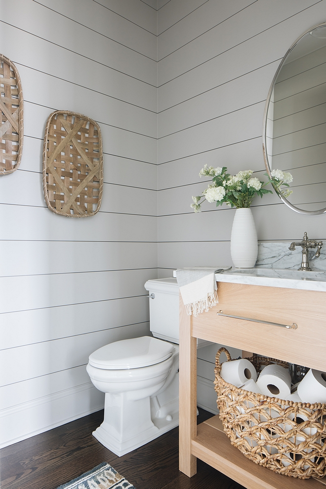 Benjamin Moore Ozark Shadows Powder room features a grey shiplap painted in Benjamin Moore Ozark Shadows and a custom Rift Oak vanity #shiplap #BenjaminMooreOzarkShadows #BenjaminMoore #OzarkShadows