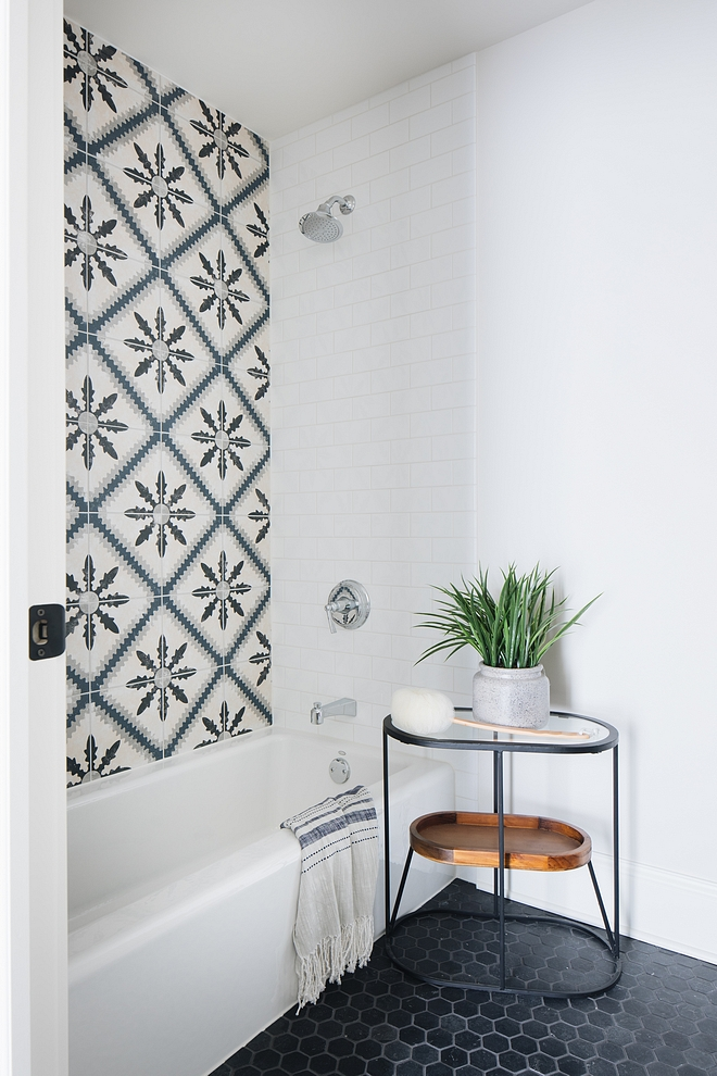 Combining Encaustic cement tile and white subway tile is a great way to add character to any bathroom #bathroom #tile #Encaustictile #cementtile #whitesubwaytile #bathroom