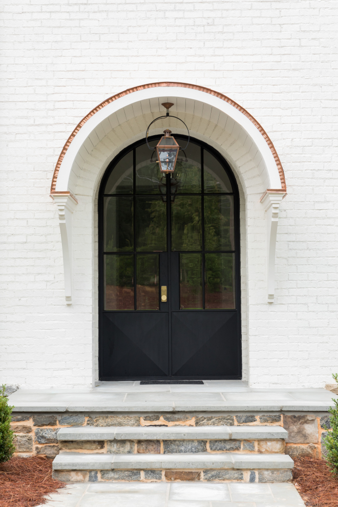 Black Metal Front Door with white brick paint color Benjamin Moore Soft Chamois Front door Custom metal front door Black Metal Front Door with white brick paint color Benjamin Moore Soft Chamois #BlackMetalDoor #MetalFrontDoor #blackdoor #whitebrick #paintcolor #BenjaminMooreSoftChamois