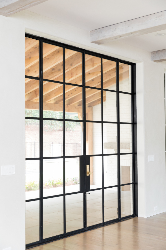Black metal patio door