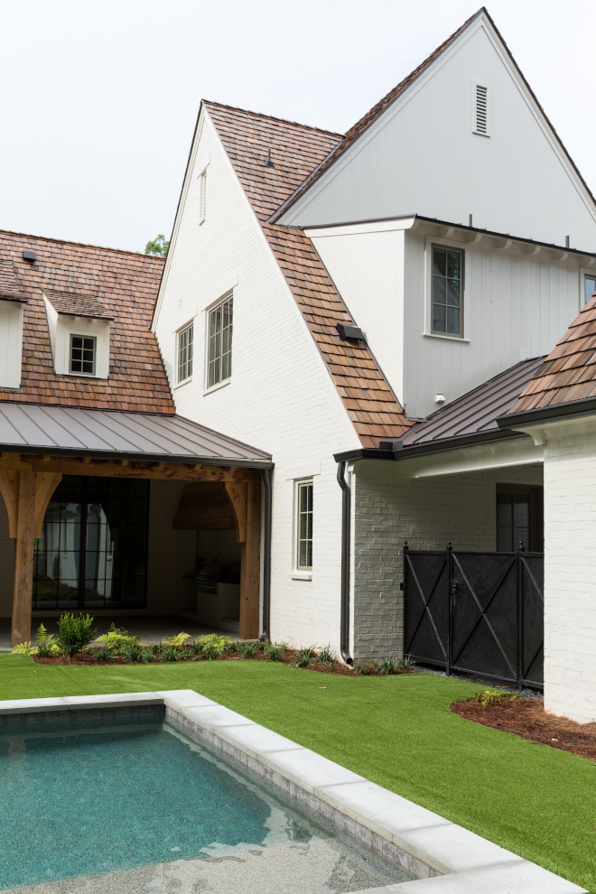 Cedar Shingle Roof with Benjamin Moore OC-13 Soft Chamois brick exterior Cedar Shingle Roof with Benjamin Moore OC-13 Soft Chamois brick exterior Cedar Shingle Roof with Benjamin Moore OC-13 Soft Chamois brick exterior #CedarRoof #BenjaminMooreOC13SoftChamois #brick #exterior