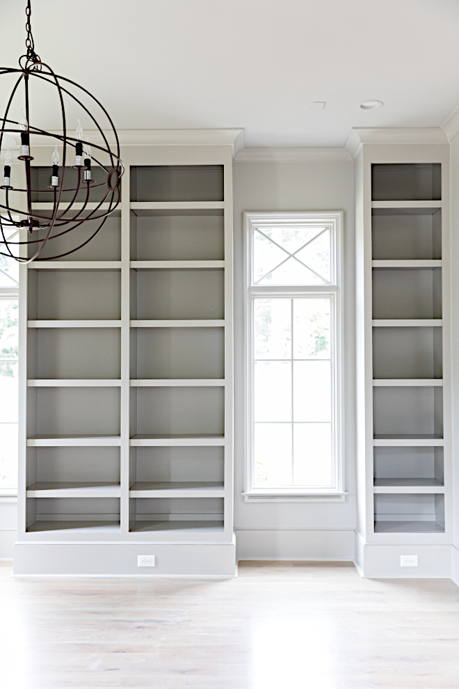 Grey bookcase paint color Grey Paint Color Mindful Gray SW 7016 by Sherwin-Williams Walls are in eggshell and trim and windows are in semi-gloss Mindful Gray SW 7016 by Sherwin-Williams #greypaintcolor #greybookcase #MindfulGraySW7016SherwinWilliams