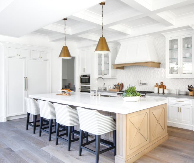 White Oak Kitchen Island White Oak Kitchen Island with white perimeter cabinets and white marble countertop White Oak Kitchen Island White Oak Kitchen Island #WhiteOak #KitchenIsland