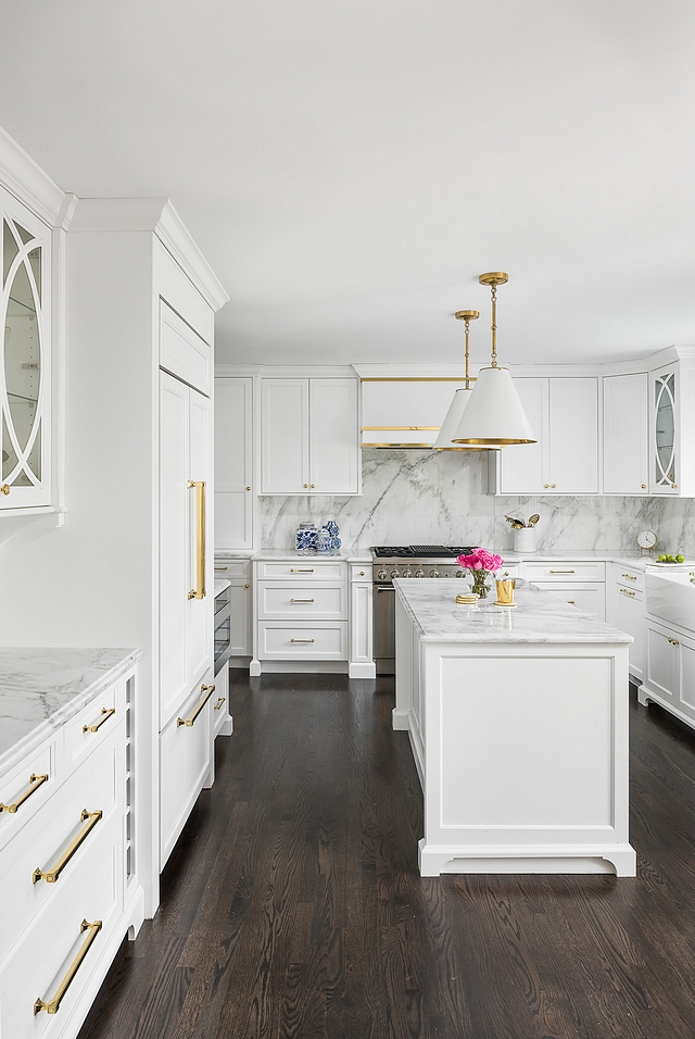 Kitchen Layout This kitchen features a classic layout for older homes, where the kitchen area is long but not too wide. Using custom cabinets allow this kitchen to be more functional because each area is planned ahead #kitchenlayout #kitchen #customcabinets