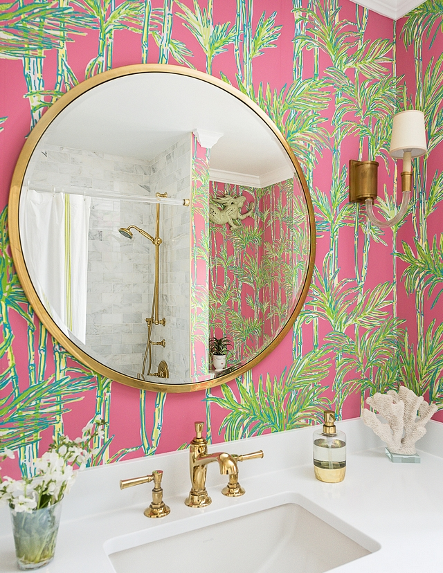 "Lilly Pulitzer for Lee Jofa, ""Big Bam"" in Hotty Pink Wallpaper Fun wallpaper for kids bathroom Lilly Pulitzer for Lee Jofa, ""Big Bam"" in Hotty Pink #LillyPulitzer for Lee Jofa, ""Big Bam"" in Hotty Pink"