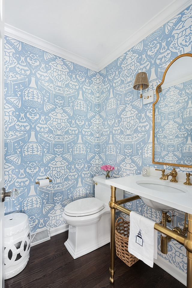 """Wallpaper is Clarence House """"The Vase"""" in Pale Blue #wallpaper #ClarenceHouse #TheVase #PaleBlue"""