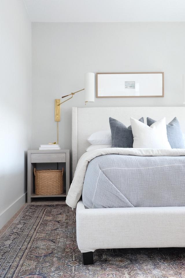 Bedroom color scheme Bedroom with grey, blue and brown color scheme #bedroomcolorscheme #greycolorscheme #greybedroom