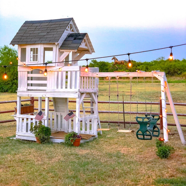 Farmhouse playhouse DIY playhouse We replaced some wood and painted it white and its a whole new playhouse! It costs about $100 to redo it! I love keeping things on a very low budget #Farmhouseplayhouse #DIYplayhouse #playhouse