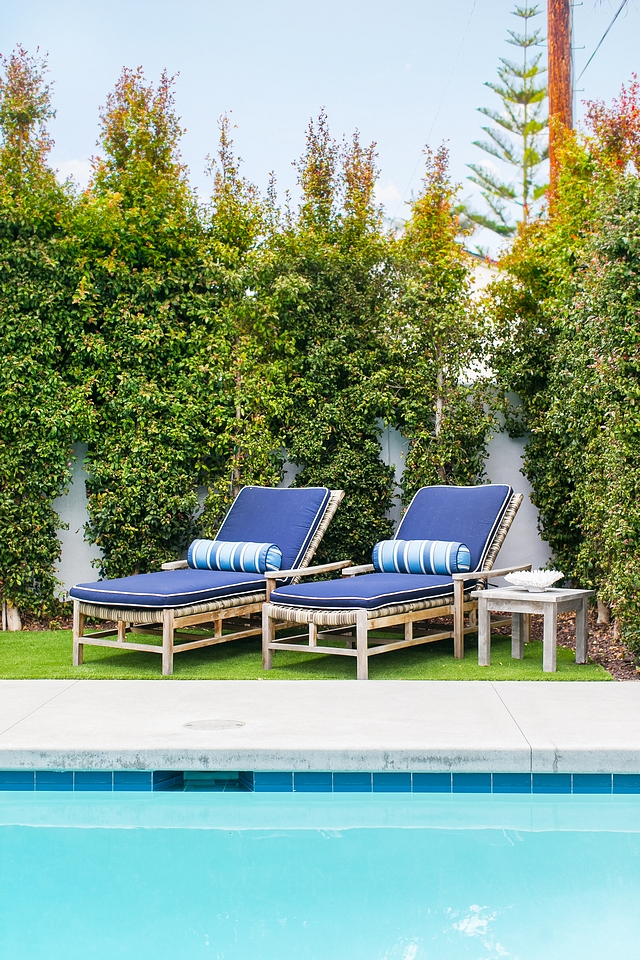 Pool Lounging Chairs Classic Pool Lounging Chairs with navy blue sunbrella cushions #Poolchairs #pool #LoungingChairs